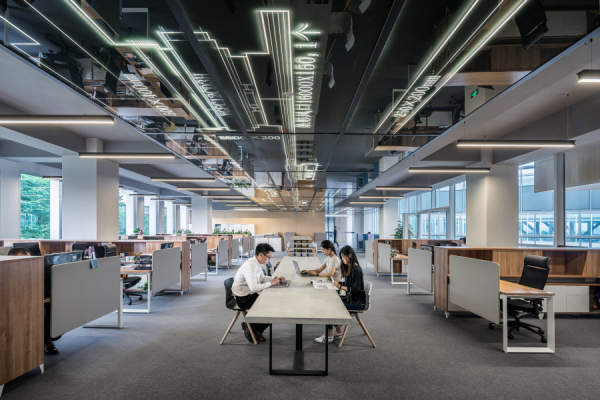 people working in a big office