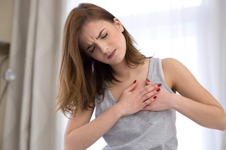 Young woman with chest pain.