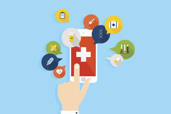 Illustration smartphone health apps.