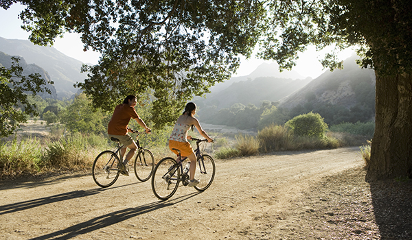 Active couple biking on scenic road