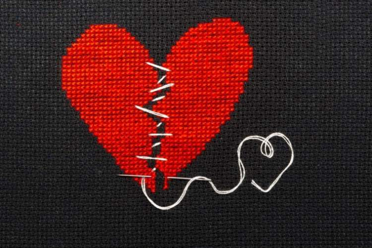 broken heart stitched back together