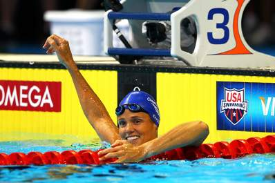 Dara Torres celebrates after she competed in the second semi final heat of the Women's 50 m Freestyle during Day Seven of the 2012 U.S. Olympic Swimming Team Trials.