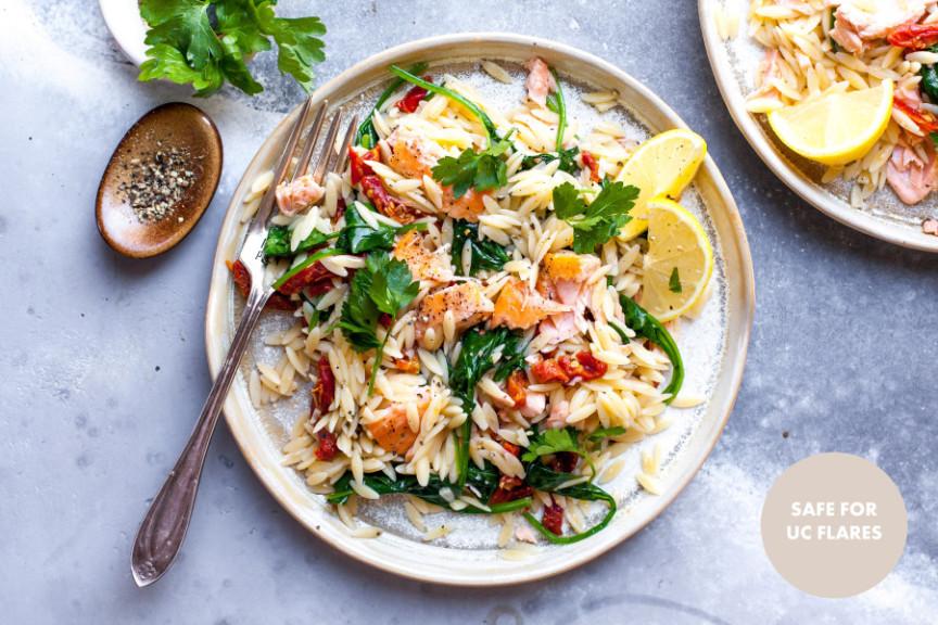 Lemony Orzo Salad With Flaked Salmon