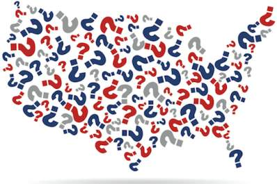 United States map made out of question marks.