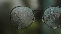 wet pair of eyeglasses