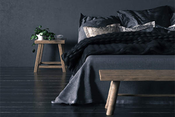 Black bedding and bedroom.
