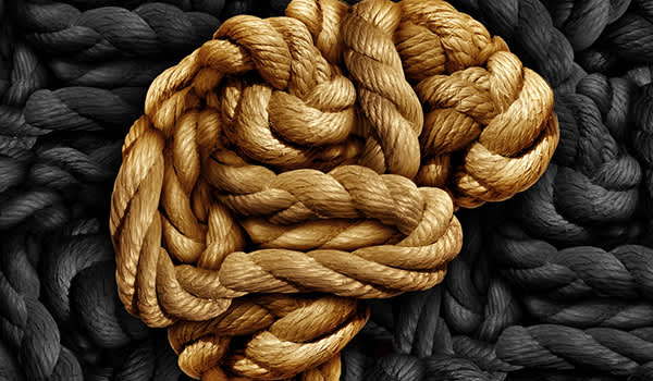 Brain disorder concept, knotted rope.