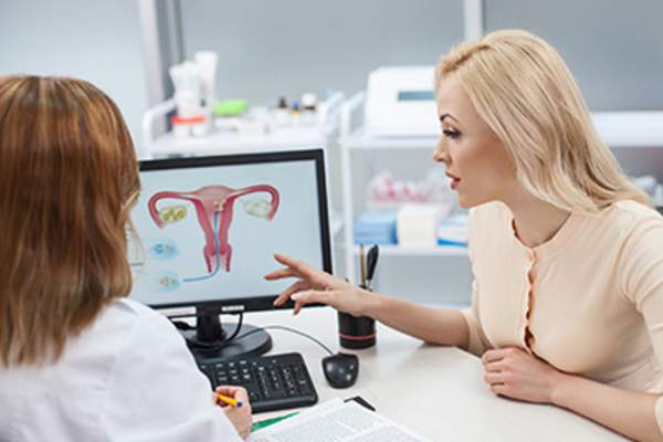 Woman consulting a gynecologist.