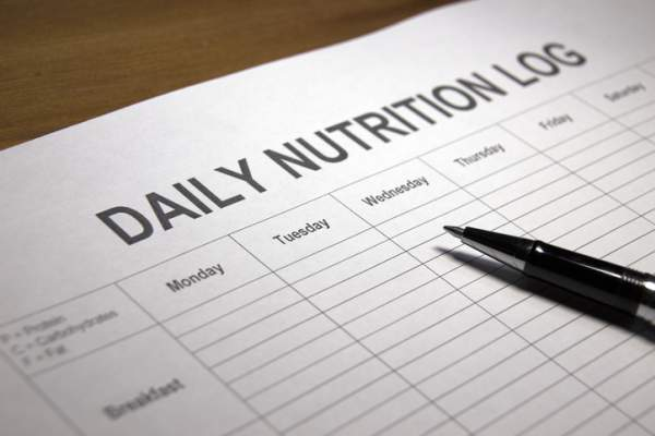 Close-up of nutrition log sheet