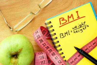 BMI body mass index formula in a notepad.