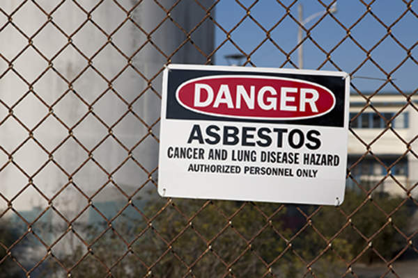 Asbestos warning sign.