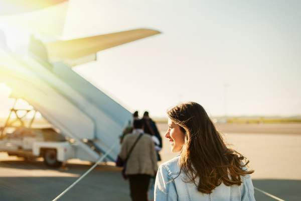 Woman about to board a plane