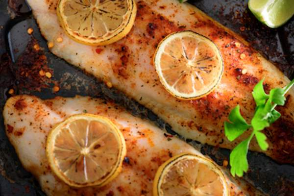 Seasoned white fish.