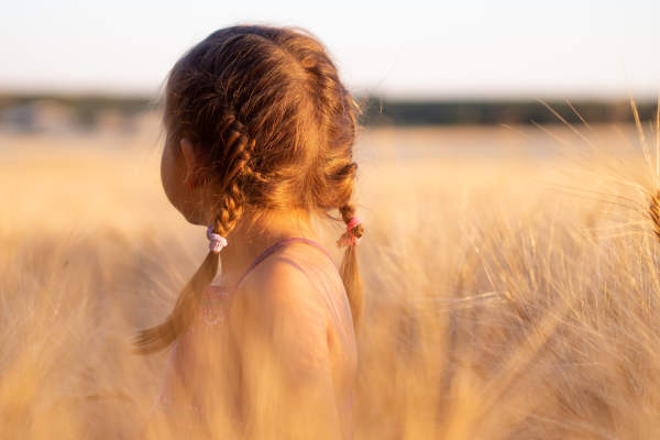 young girl in a wheat field looking away