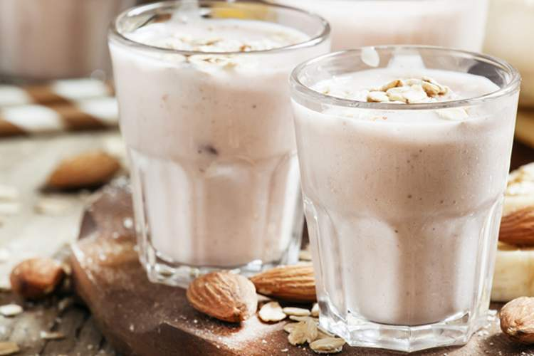 Almonds in a banana smoothie.