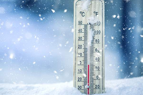 Thermometer with cold temperature.
