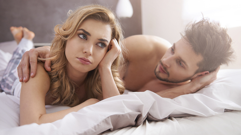 Anxious woman unable to be intimate with her partner.