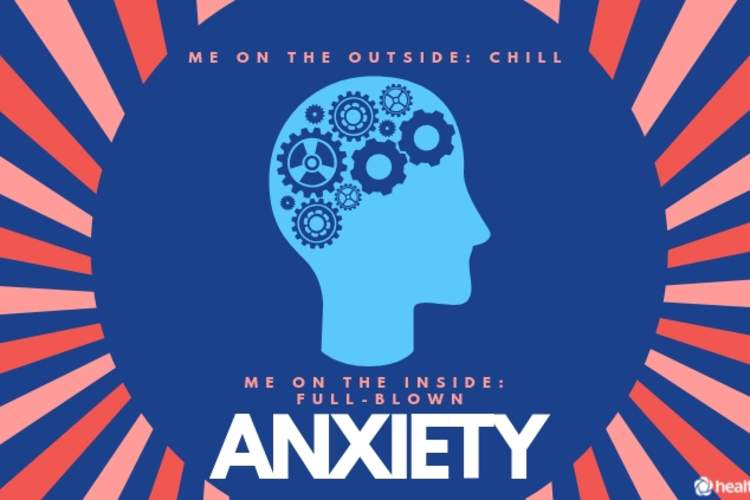 "Anxiety graphic reading ""Me on the outside: chill. Me on the inside: full-blown anxiety"""