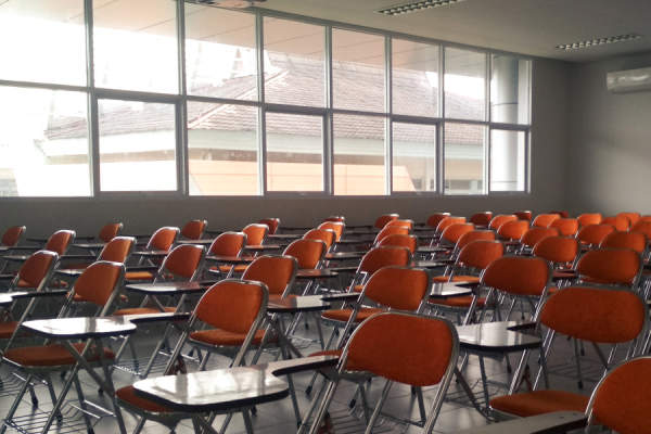 classroom full of empty chairs
