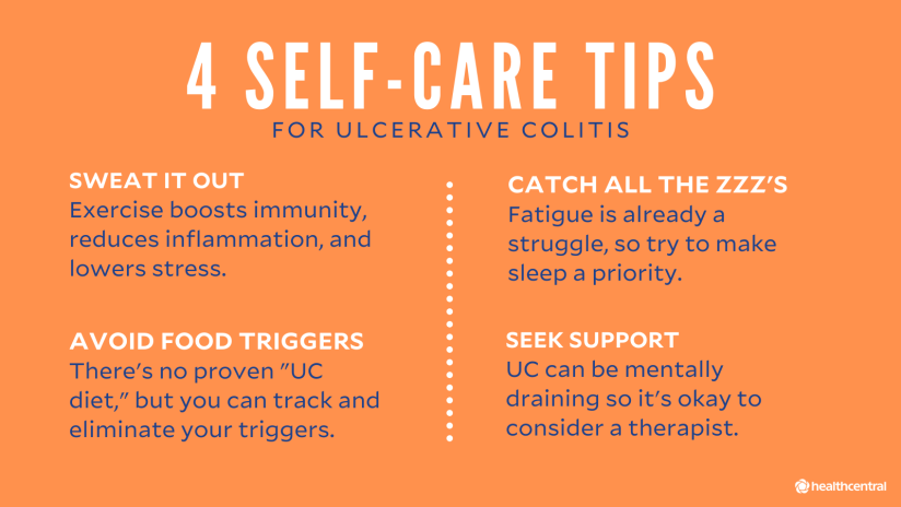 Self-Care Tips for Ulcerative Colitis include exercise, sleep, avoiding food triggers, and therapy