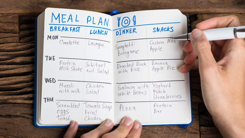 Writing out a food plan in a journal.