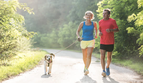 Seniors jogging forest trail in summer with dog.