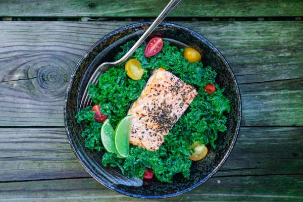 Salmon kale salad.