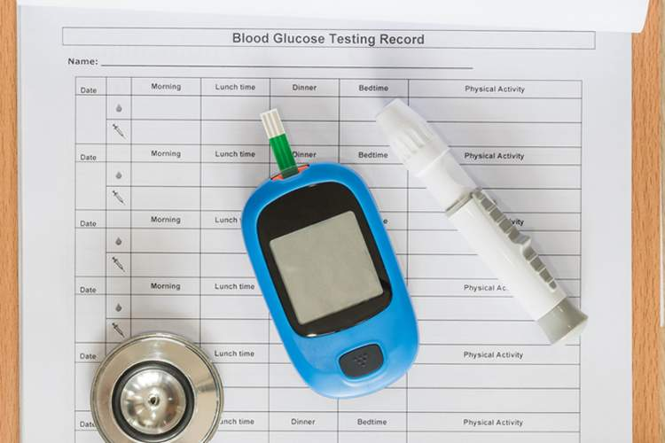 Blood glucose record and diabetes supplies.