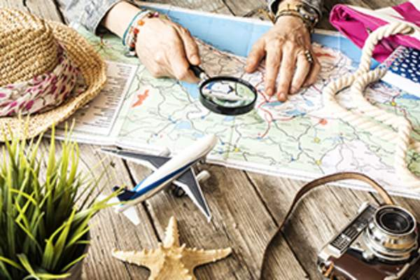Travel planning with a map.