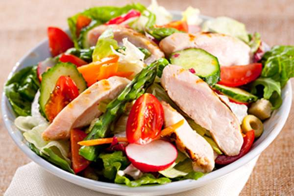 Salad with grilled chicken.