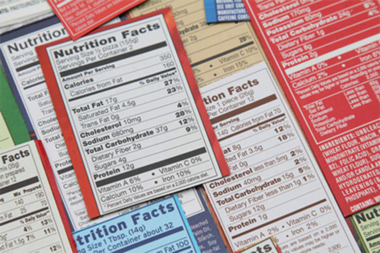 Nutrition facts labels.