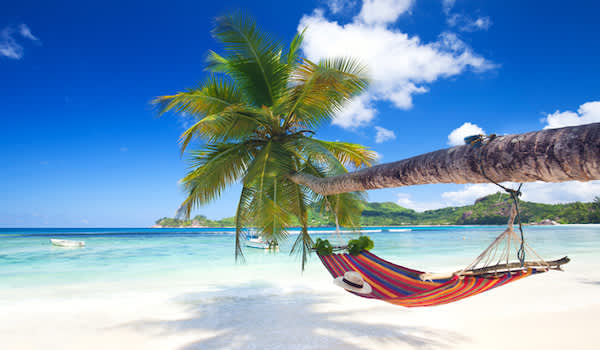 Beautiful island beach with hammock.