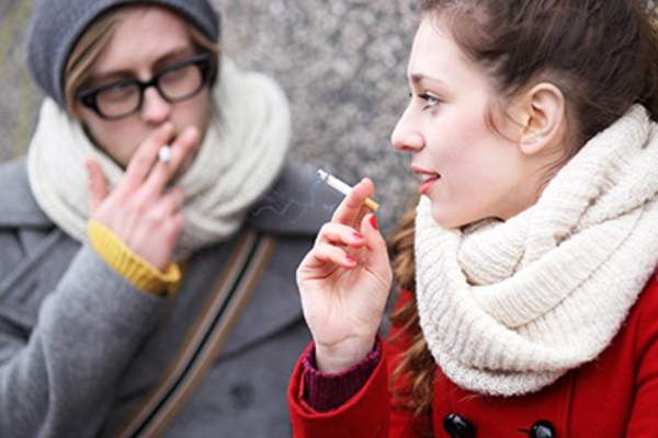 Smokers outside in the winter.