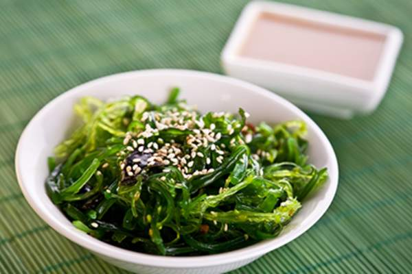 A bowl of Wakame seaweed salad.