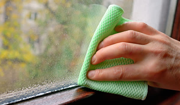 wiping condensation on window image