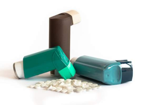 Asthma medications, pills and inhalers.