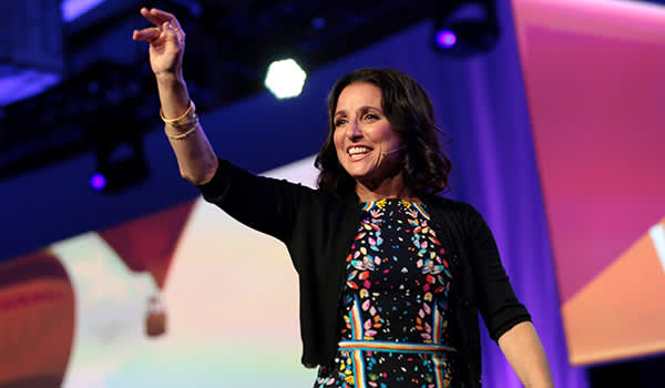 Julia Louis-Dreyfus speaking with attendees at the 2017 WorkHuman conference.