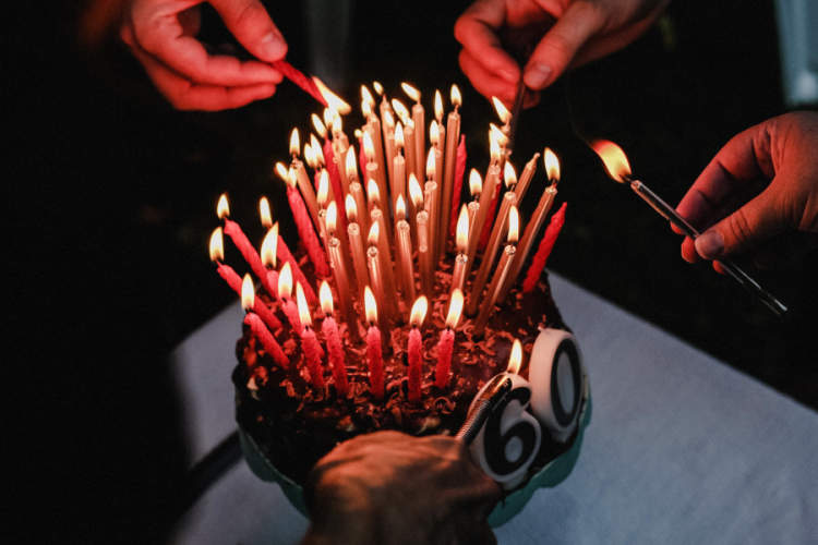 birthday cake with 60 candles