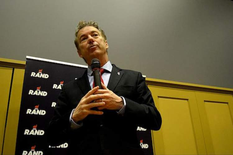 U.S. Sen. Rand Paul, 2016 Republican presidential candidate, during a pre-caucus rally at Iowa State University in Ames, Iowa on Monday, Feb. 1, 2016.