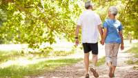 Elderly couple walking together in the park.