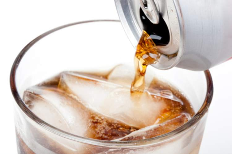A diet soda poured over ice.