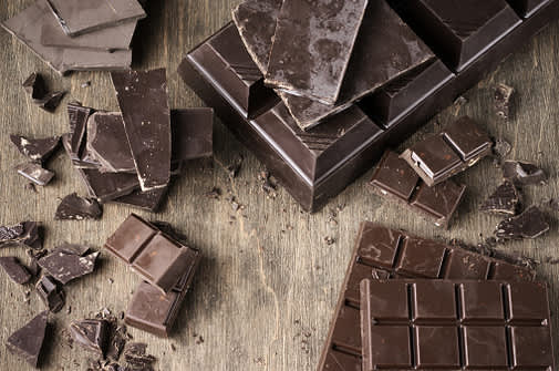 Squares of dark chocolate.