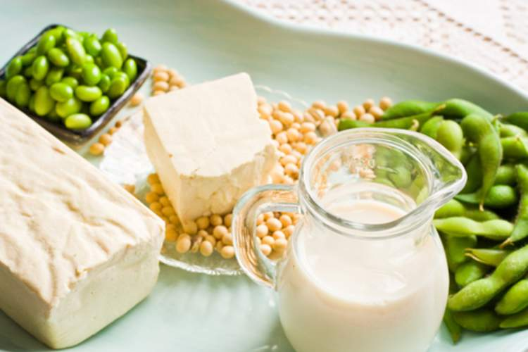 Soy beans, soy milk, tofu, and edamame.