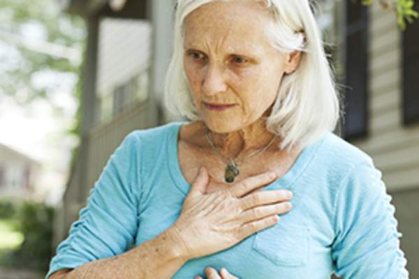 older woman out of breath image