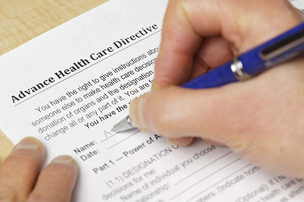 Writing an advance care directive.
