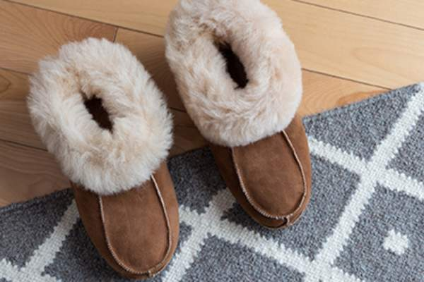 Fuzzy slippers on a rug.