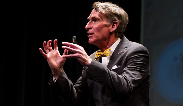 Bill Nye speaking at Jesse Hall