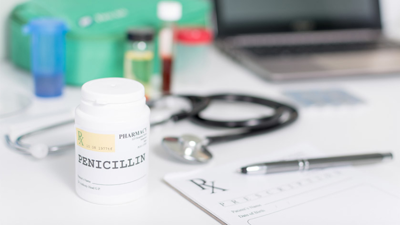 Penicillin on doctor's desk.