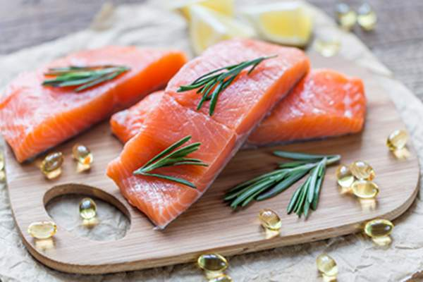 Raw salmon and omega 3s.
