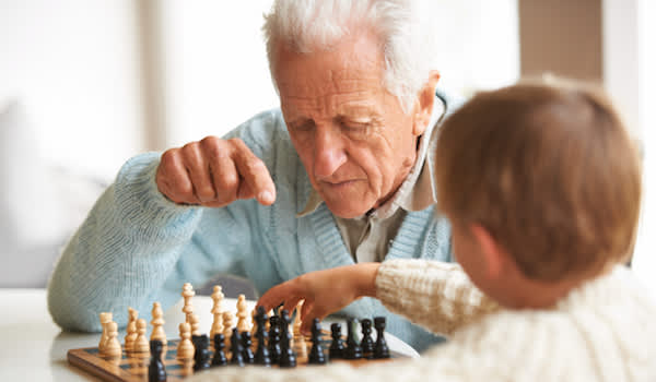 Playing chess with Grandpa.